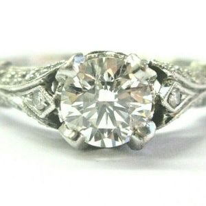 Saturn Round Diamond Engagement Ring Platinum 950